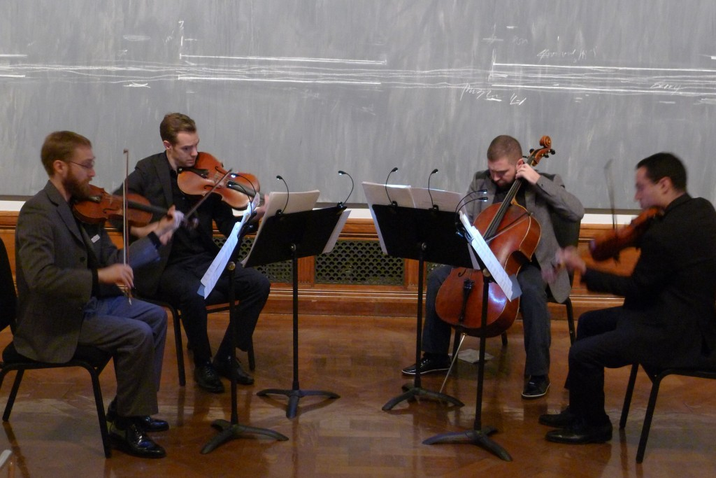 "The JACK Quartet in front of Twombly's ""Treatise on the Veil."""