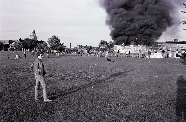 Moss Side is Ablaize Riots 1981 - Photograph Richard W (copyright). Courtesy of Ripley Rand.